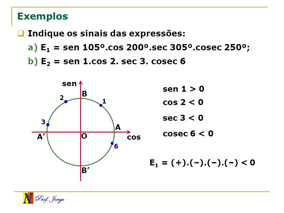 Prof. Jorge Exemplos Indique os sinais das expressões: a) E 1 = sen 105º.cos 200º.sec 305º.cosec 250º; b) E 2 = sen 1.cos 2. sec 3. cosec 6 O A B A B