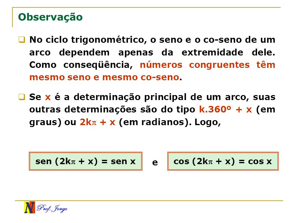 Prof. Jorge Observação No ciclo trigonométrico, o seno e o co-seno de um arco dependem apenas da extremidade dele. Como conseqüência, números congruen
