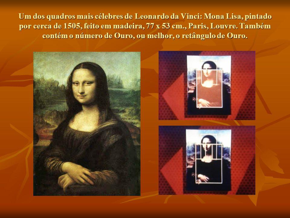 Um dos quadros mais célebres de Leonardo da Vinci: Mona Lisa, pintado por cerca de 1505, feito em madeira, 77 x 53 cm., Paris, Louvre.
