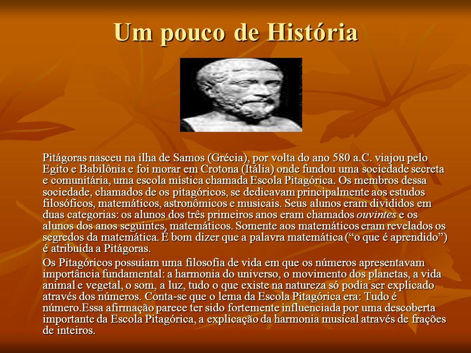 Um pouco de História Pitágoras nasceu na ilha de Samos (Grécia), por volta do ano 580 a.C.