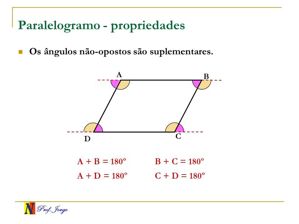 Prof. Jorge Paralelogramo - propriedades A B C D Os ângulos não-opostos são suplementares. A + B = 180º A + D = 180º B + C = 180º C + D = 180º