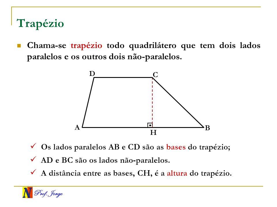 Prof. Jorge Trapézio Chama-se trapézio todo quadrilátero que tem dois lados paralelos e os outros dois não-paralelos. A B C D H Os lados paralelos AB