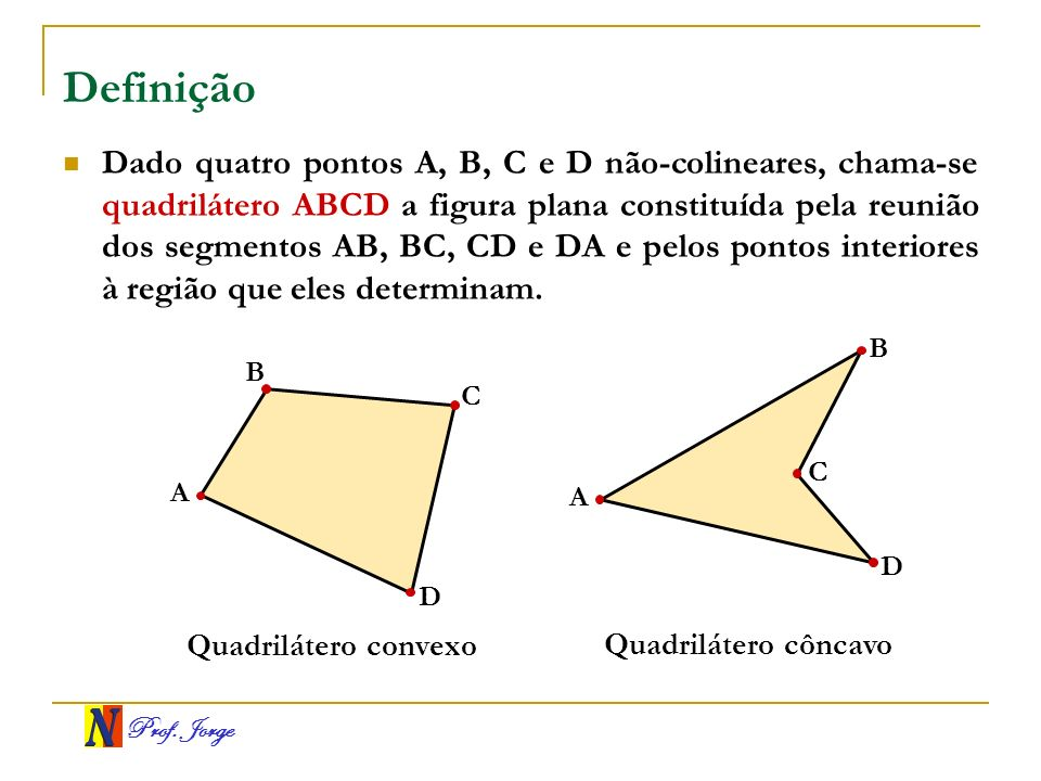 Prof. Jorge Definição Dado quatro pontos A, B, C e D não-colineares, chama-se quadrilátero ABCD a figura plana constituída pela reunião dos segmentos