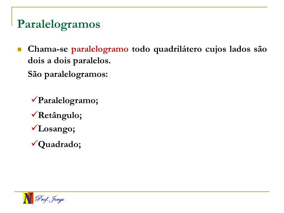 Prof. Jorge Paralelogramos Chama-se paralelogramo todo quadrilátero cujos lados são dois a dois paralelos. São paralelogramos: Paralelogramo; Retângul