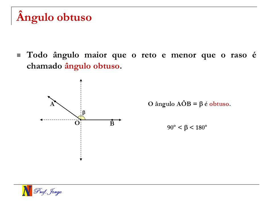 Prof. Jorge Ângulo obtuso Todo ângulo maior que o reto e menor que o raso é chamado ângulo obtuso. O A B O ângulo AÔB = é obtuso. 90º < < 180º