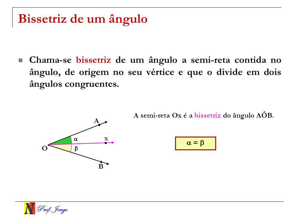 Prof. Jorge Bissetriz de um ângulo Chama-se bissetriz de um ângulo a semi-reta contida no ângulo, de origem no seu vértice e que o divide em dois ângu