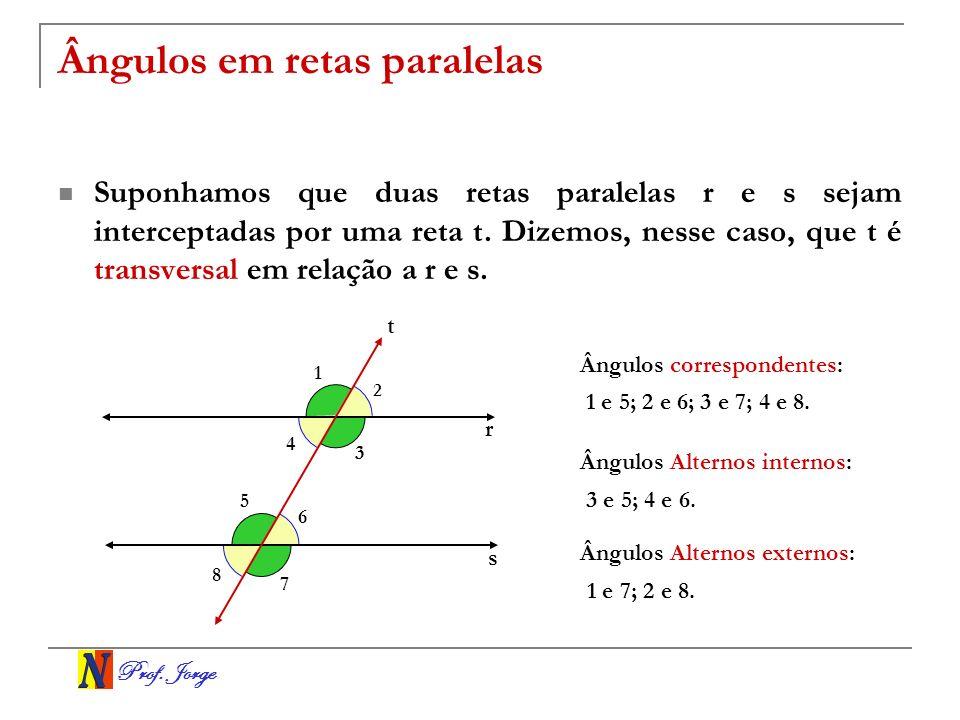Prof. Jorge Ângulos em retas paralelas Suponhamos que duas retas paralelas r e s sejam interceptadas por uma reta t. Dizemos, nesse caso, que t é tran