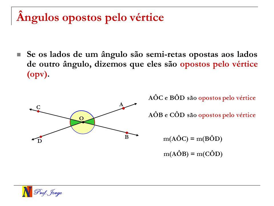 Prof. Jorge Ângulos opostos pelo vértice Se os lados de um ângulo são semi-retas opostas aos lados de outro ângulo, dizemos que eles são opostos pelo