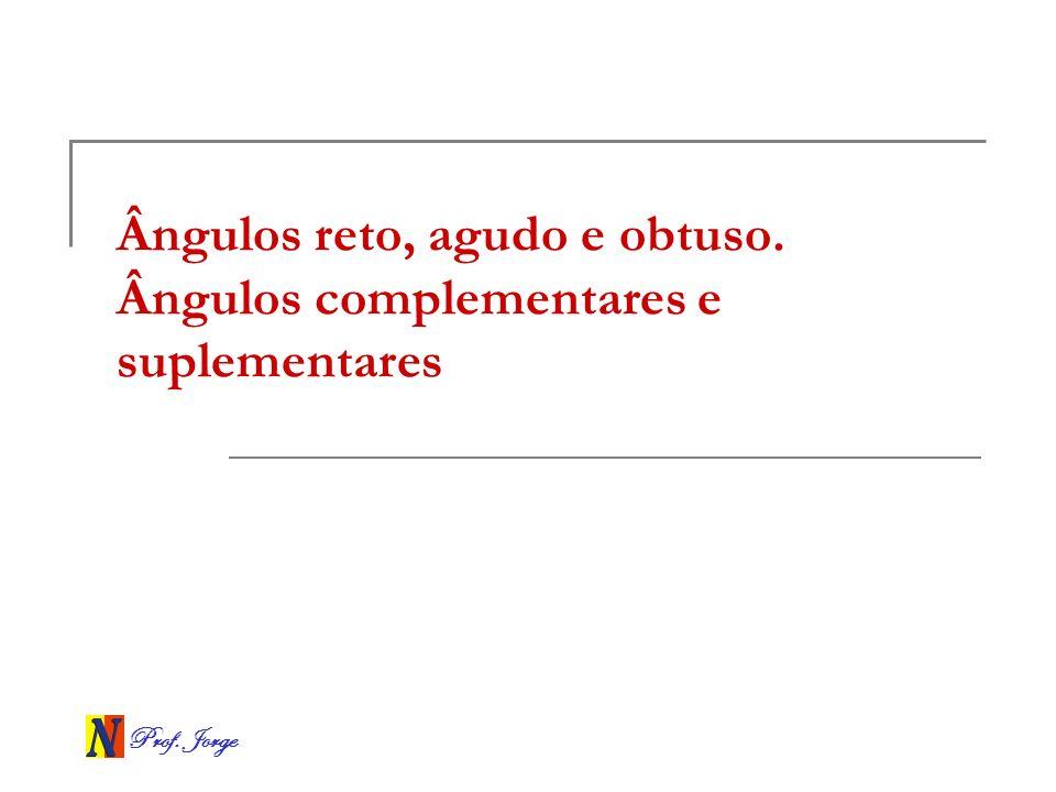 Prof.Jorge Ângulo reto Um ângulo é reto quando sua medida for de 90º.
