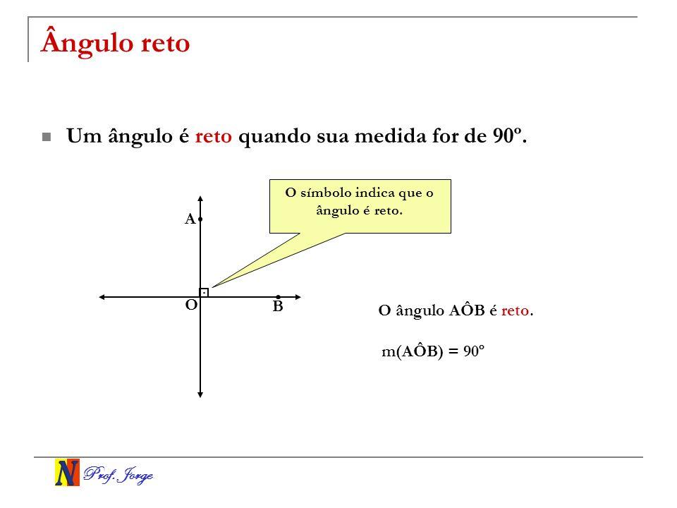Prof. Jorge Ângulo reto Um ângulo é reto quando sua medida for de 90º. O A B O ângulo AÔB é reto. m(AÔB) = 90º O símbolo indica que o ângulo é reto.