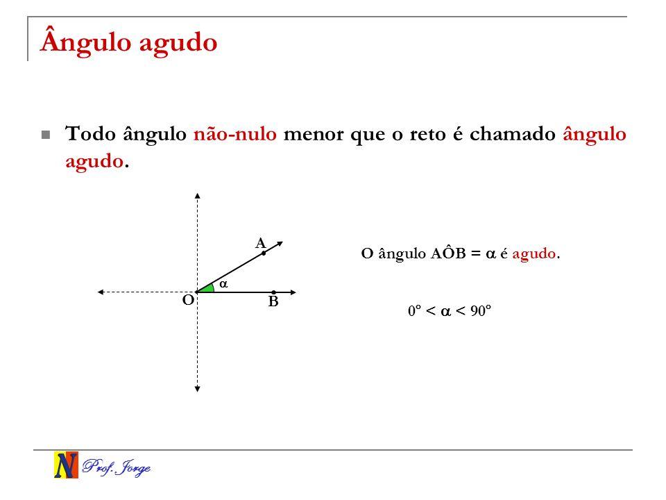 Prof. Jorge Ângulo agudo Todo ângulo não-nulo menor que o reto é chamado ângulo agudo. O A B O ângulo AÔB = é agudo. 0º < < 90º
