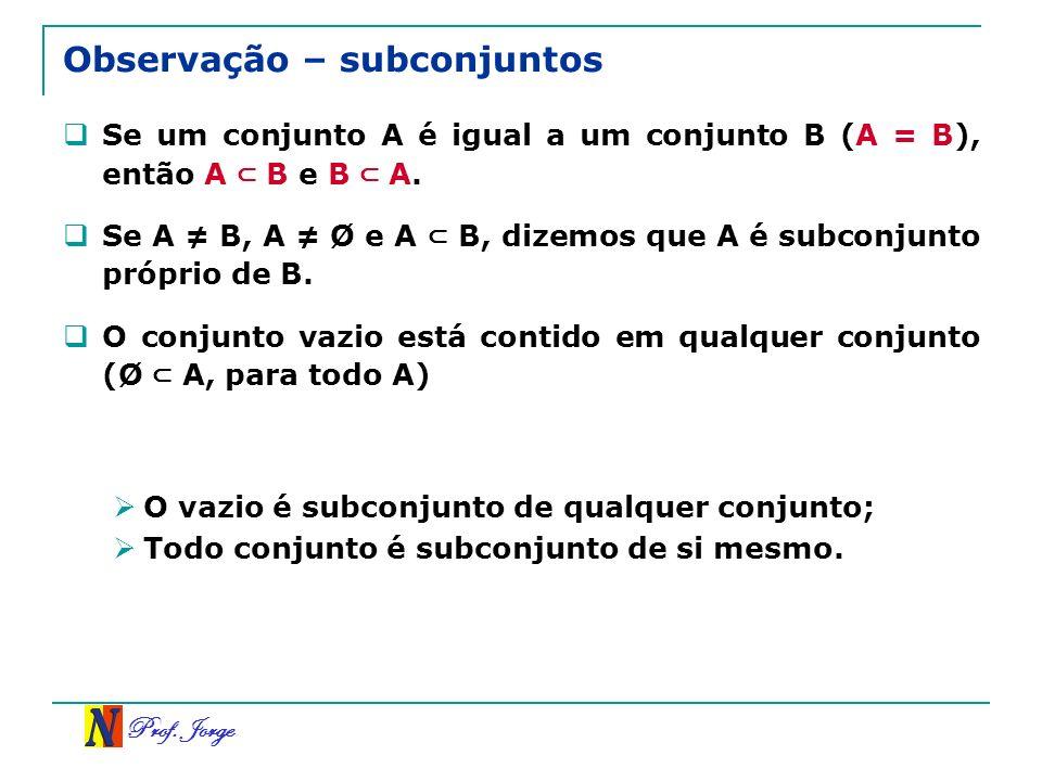 Prof. Jorge Observação – subconjuntos Se um conjunto A é igual a um conjunto B (A = B), então A B e B A. Se A B, A Ø e A B, dizemos que A é subconjunt