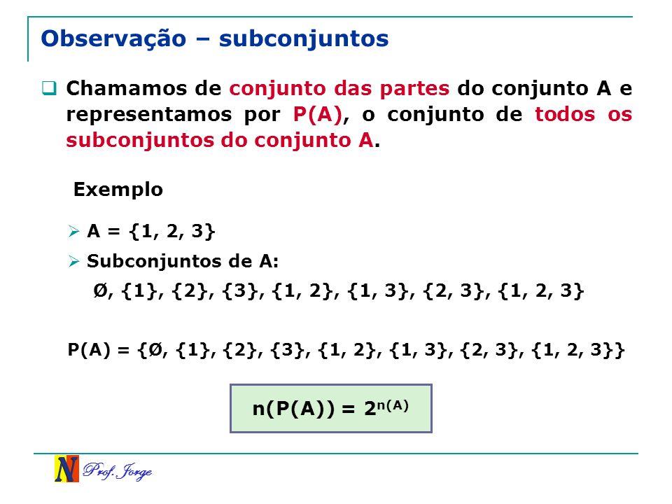Prof. Jorge Observação – subconjuntos Chamamos de conjunto das partes do conjunto A e representamos por P(A), o conjunto de todos os subconjuntos do c