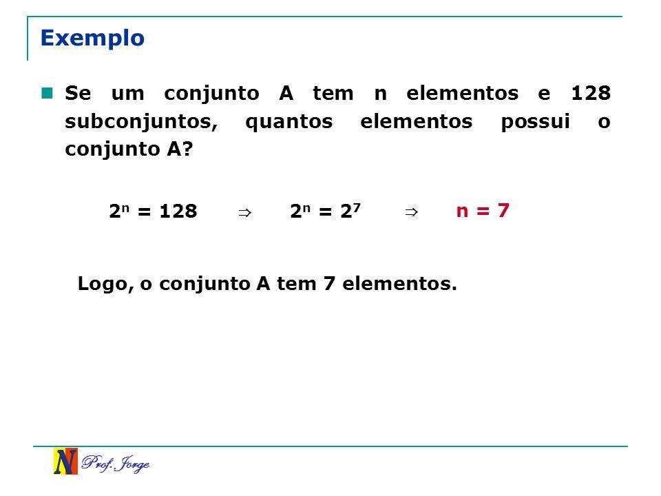 Prof. Jorge Exemplo Se um conjunto A tem n elementos e 128 subconjuntos, quantos elementos possui o conjunto A? 2 n = 128 2 n = 2 7 n = 7 Logo, o conj