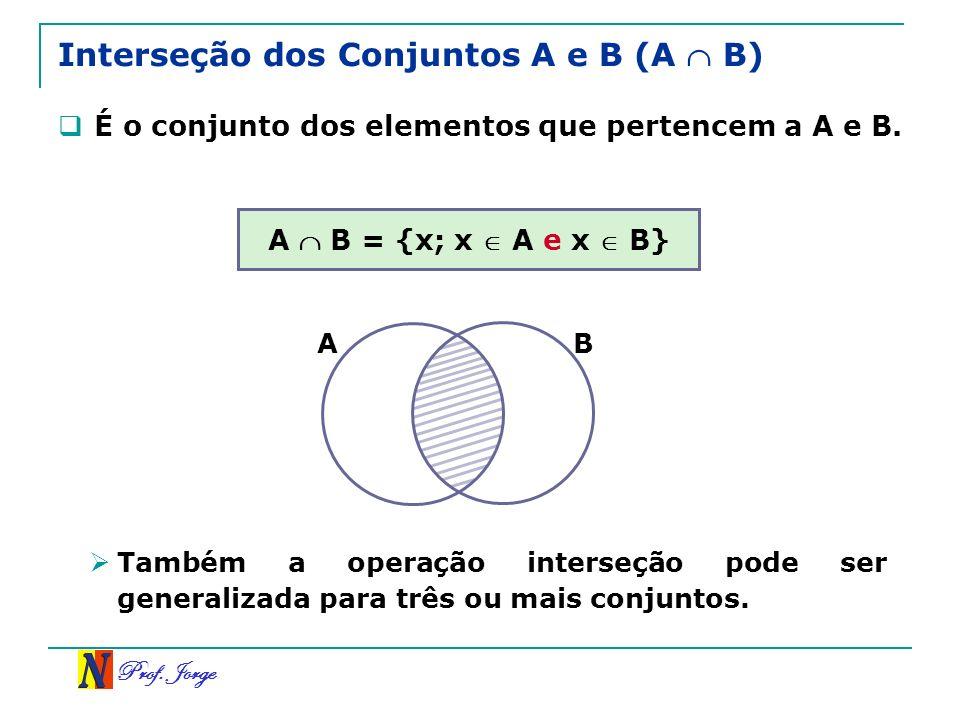Prof. Jorge Interseção dos Conjuntos A e B (A B) É o conjunto dos elementos que pertencem a A e B. A B = {x; x A e x B} BA Também a operação interseçã