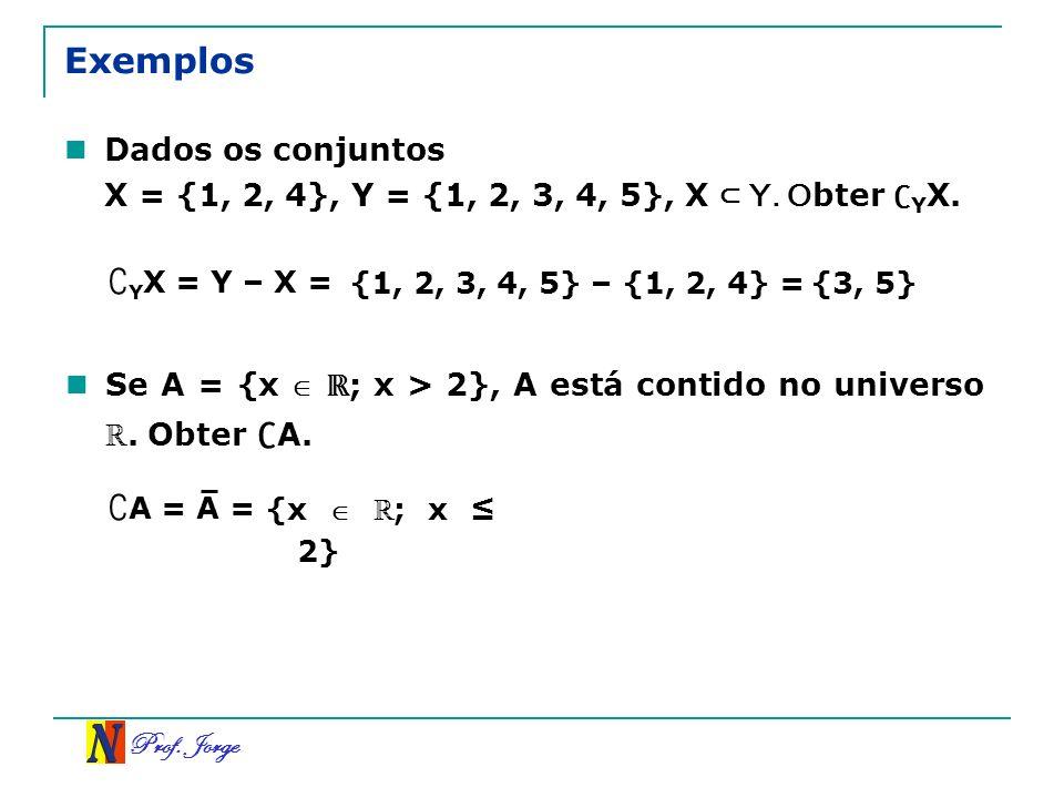 Prof. Jorge Exemplos Dados os conjuntos X = {1, 2, 4}, Y = {1, 2, 3, 4, 5}, X Y. O bter Y X. Y X = Y – X = {1, 2, 3, 4, 5} – {1, 2, 4} ={3, 5} Se A =