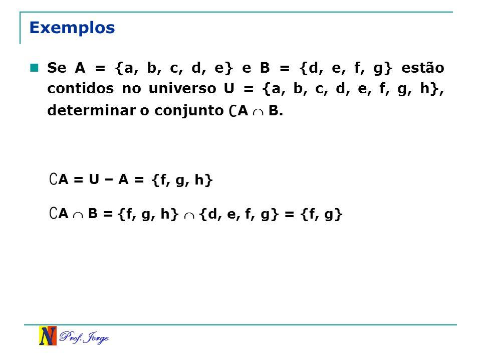 Prof. Jorge Exemplos Se A = {a, b, c, d, e} e B = {d, e, f, g} estão contidos no universo U = {a, b, c, d, e, f, g, h}, determinar o conjunto A B. A =