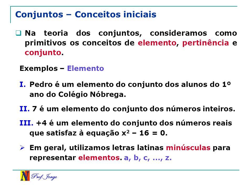 Prof. Jorge Conjuntos – Conceitos iniciais Na teoria dos conjuntos, consideramos como primitivos os conceitos de elemento, pertinência e conjunto. Exe