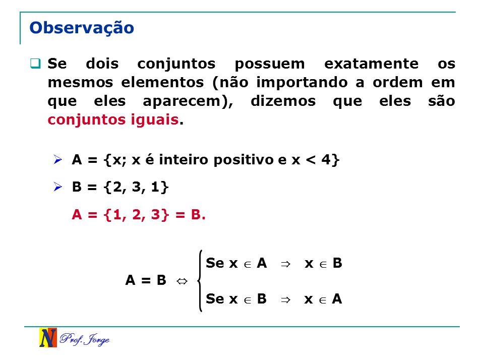 Prof. Jorge Se x A x B Se x B x A Observação Se dois conjuntos possuem exatamente os mesmos elementos (não importando a ordem em que eles aparecem), d