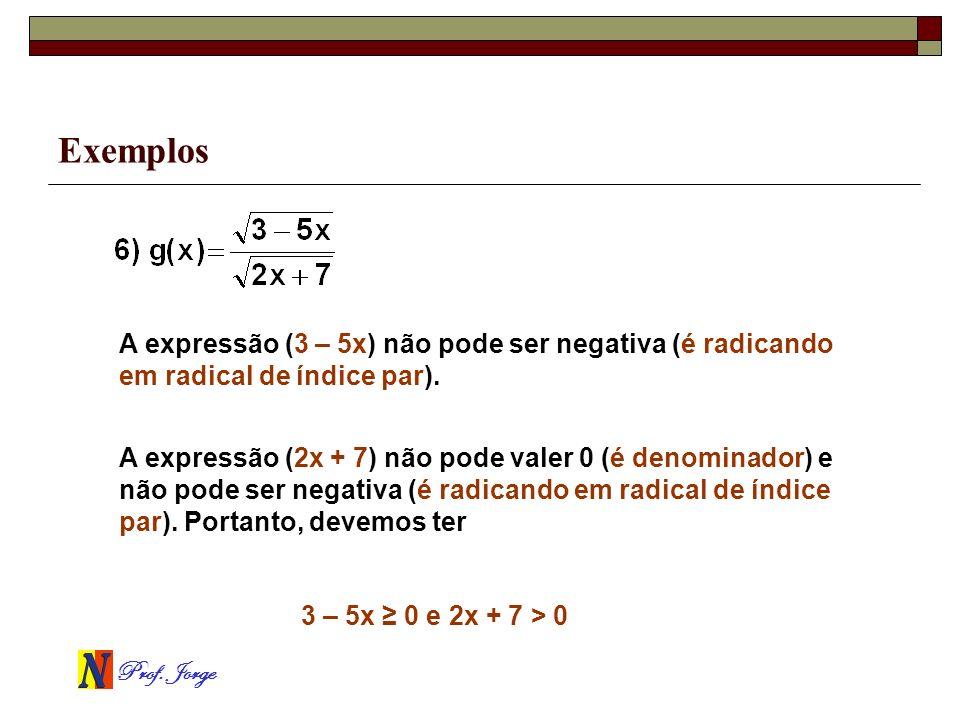 Prof. Jorge Exemplos A expressão (3 – 5x) não pode ser negativa (é radicando em radical de índice par). 3 – 5x 0 e 2x + 7 > 0 A expressão (2x + 7) não