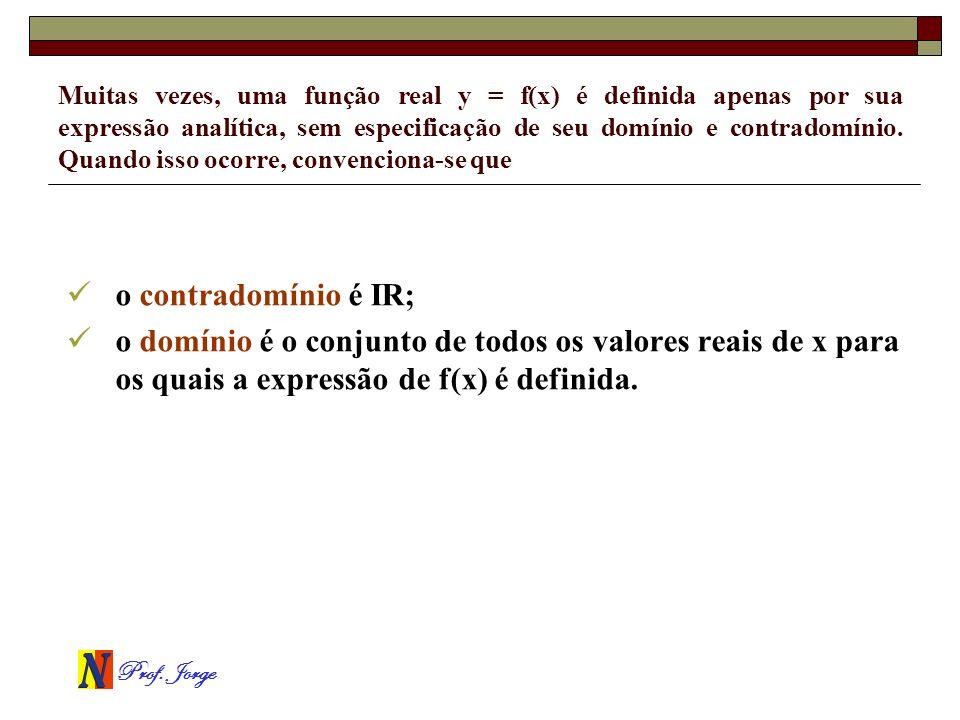 Prof. Jorge Muitas vezes, uma função real y = f(x) é definida apenas por sua expressão analítica, sem especificação de seu domínio e contradomínio. Qu
