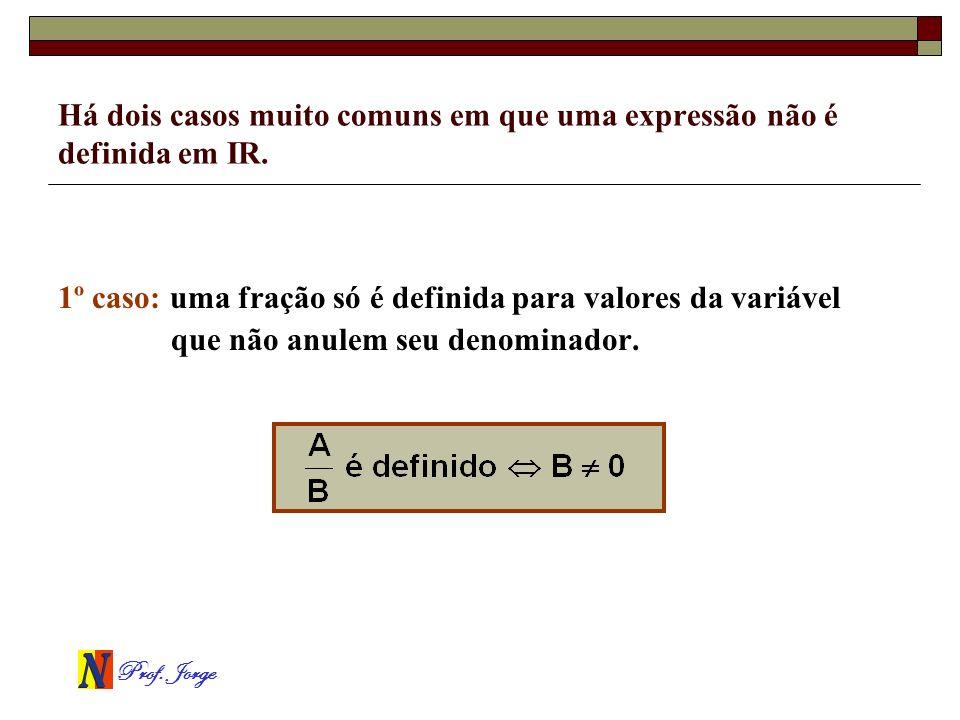 Prof. Jorge Há dois casos muito comuns em que uma expressão não é definida em IR. 1º caso: uma fração só é definida para valores da variável que não a