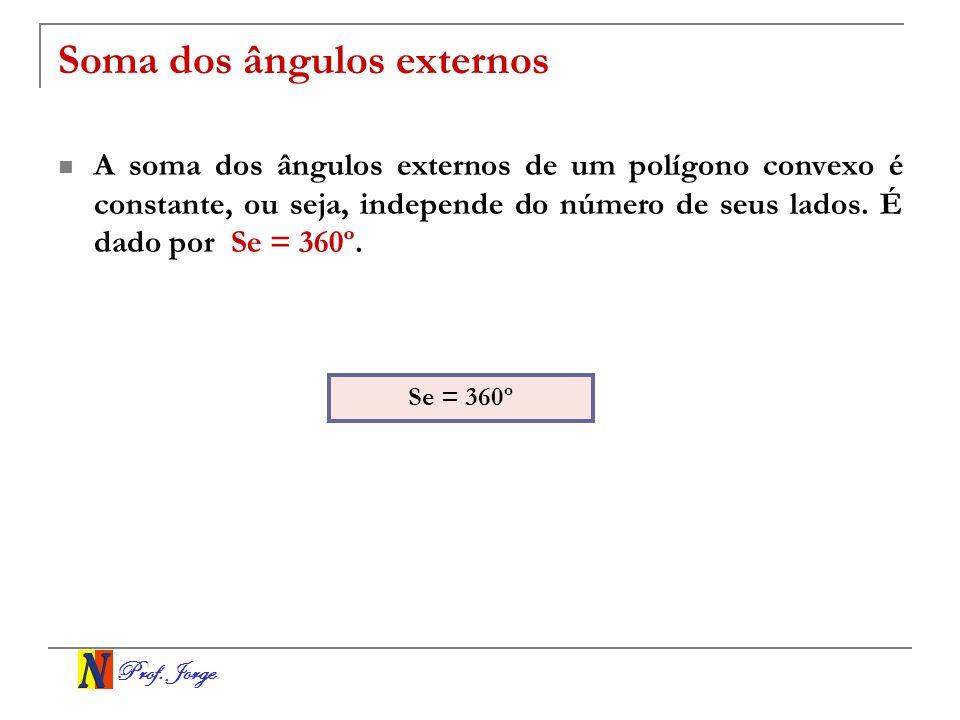 Prof. Jorge Soma dos ângulos externos A soma dos ângulos externos de um polígono convexo é constante, ou seja, independe do número de seus lados. É da