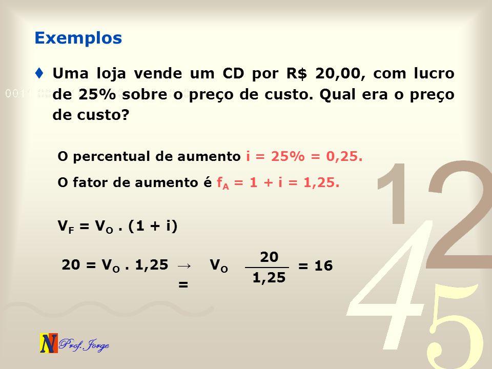 Prof. Jorge Uma loja vende um CD por R$ 20,00, com lucro de 25% sobre o preço de custo. Qual era o preço de custo? Exemplos O percentual de aumento i