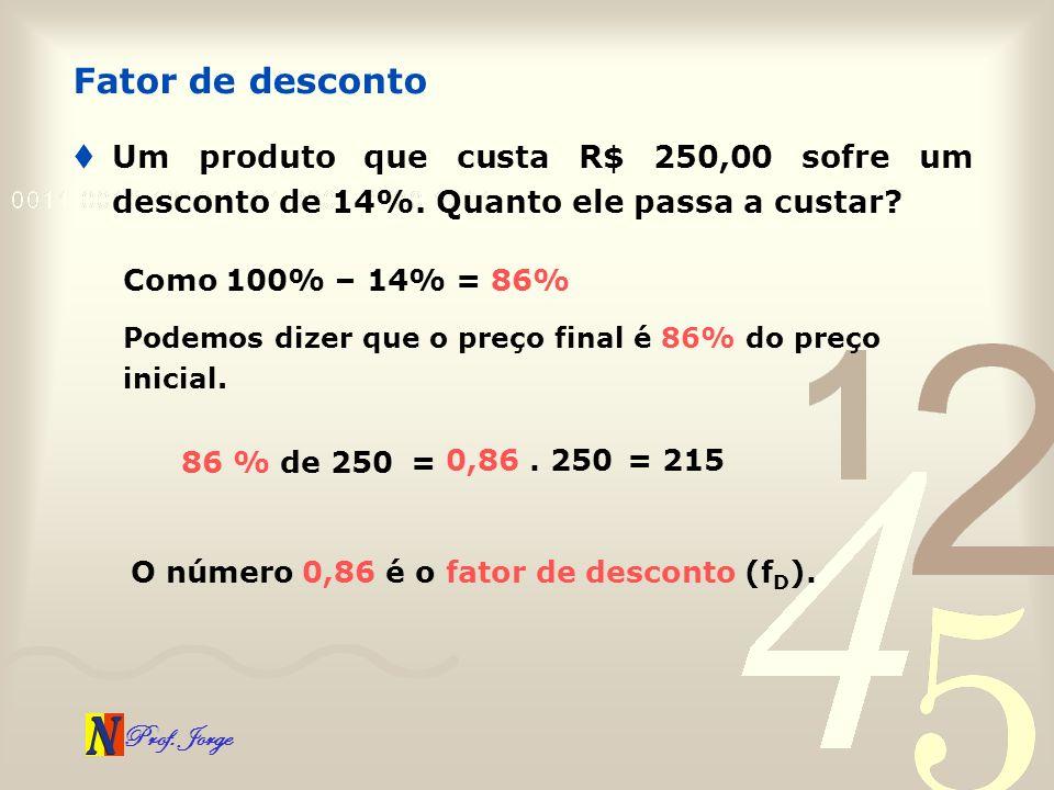 Prof. Jorge Um produto que custa R$ 250,00 sofre um desconto de 14%. Quanto ele passa a custar? Fator de desconto Como 100% – 14% = 86% Podemos dizer