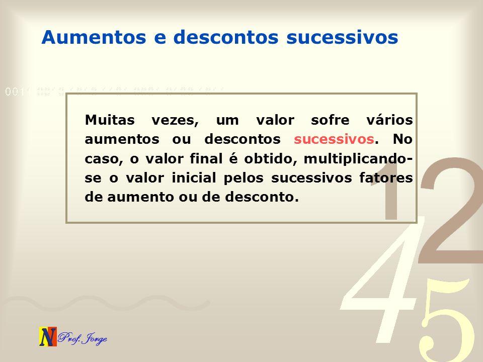 Prof. Jorge Aumentos e descontos sucessivos Muitas vezes, um valor sofre vários aumentos ou descontos sucessivos. No caso, o valor final é obtido, mul