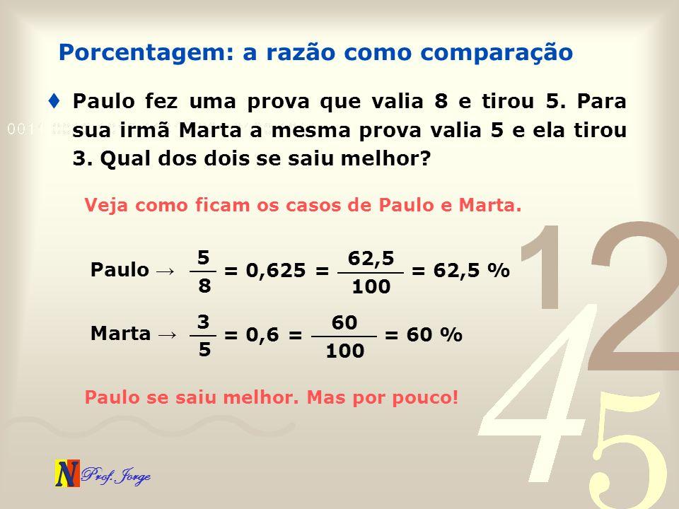 Prof. Jorge Paulo fez uma prova que valia 8 e tirou 5. Para sua irmã Marta a mesma prova valia 5 e ela tirou 3. Qual dos dois se saiu melhor? Porcenta