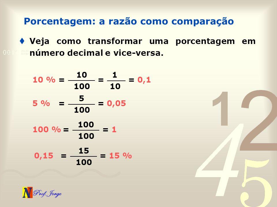 Prof. Jorge Veja como transformar uma porcentagem em número decimal e vice-versa. Porcentagem: a razão como comparação = 0,1 = 10 100 10 % = 1 10 = 0,