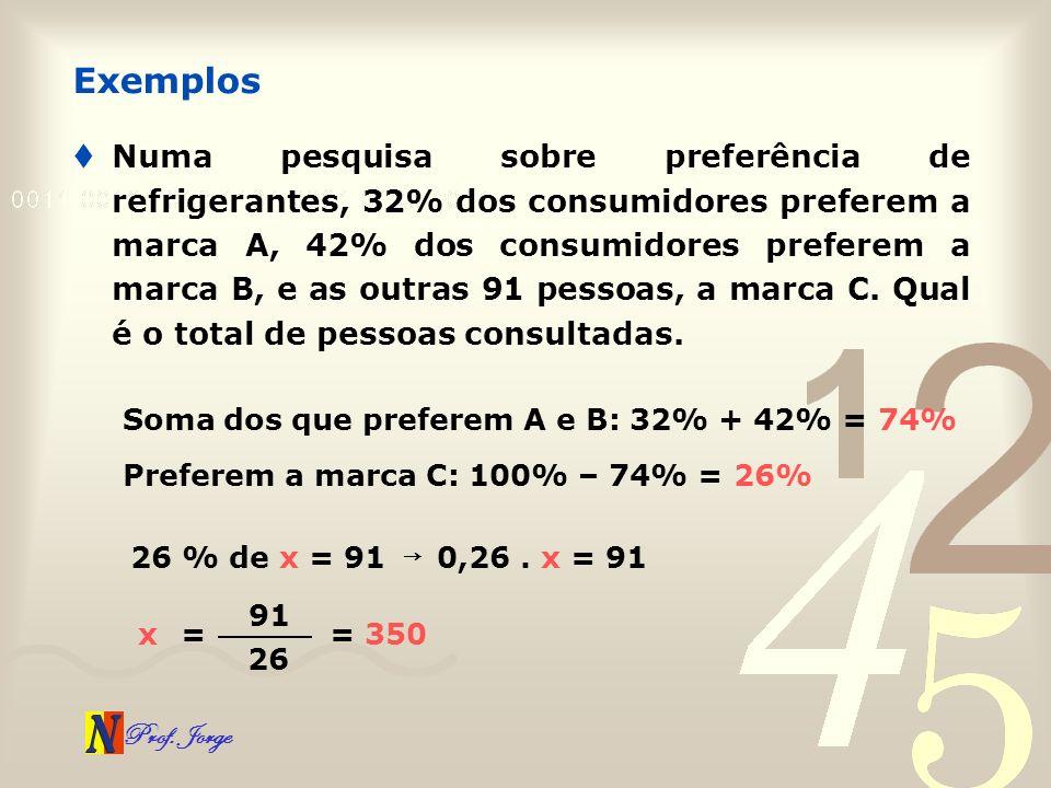 Prof. Jorge Numa pesquisa sobre preferência de refrigerantes, 32% dos consumidores preferem a marca A, 42% dos consumidores preferem a marca B, e as o