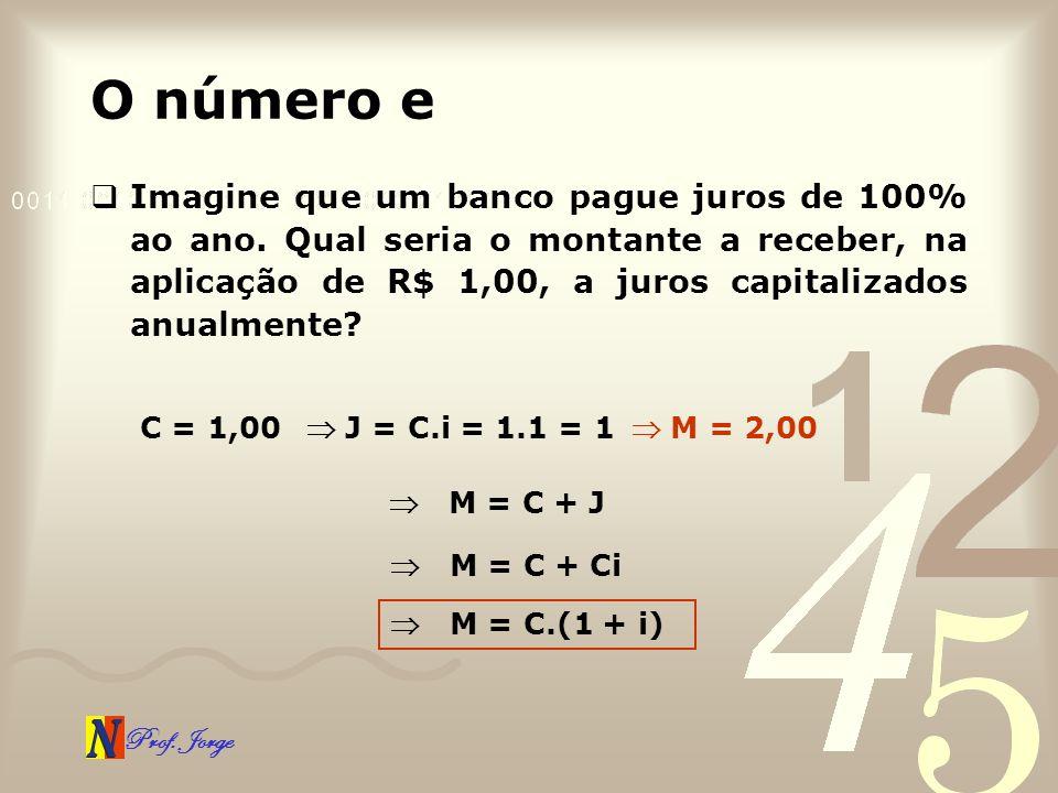 Prof. Jorge O número e Imagine que um banco pague juros de 100% ao ano. Qual seria o montante a receber, na aplicação de R$ 1,00, a juros capitalizado