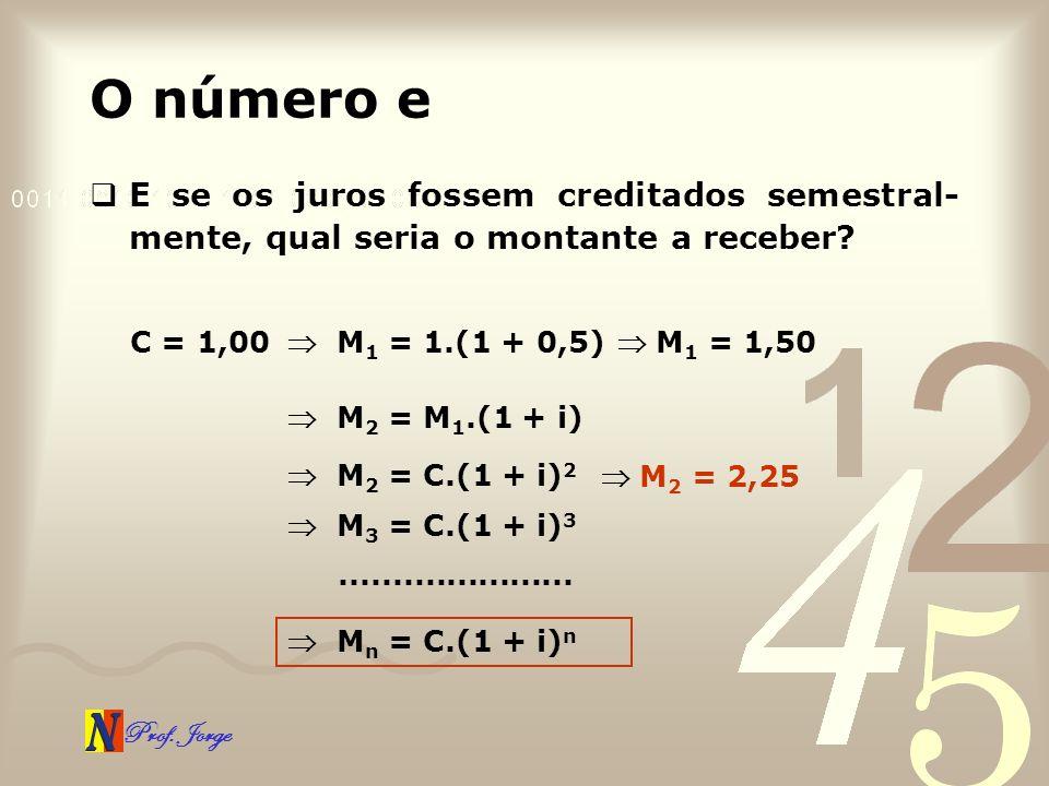 Prof. Jorge O número e E se os juros fossem creditados semestral- mente, qual seria o montante a receber? C = 1,00 M 1 = 1.(1 + 0,5) M 1 = 1,50 M 2 =