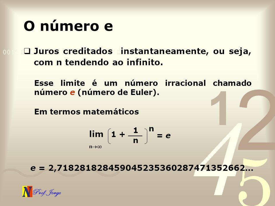 Prof. Jorge O número e Juros creditados instantaneamente, ou seja, com n tendendo ao infinito. Esse limite é um número irracional chamado número e (nú