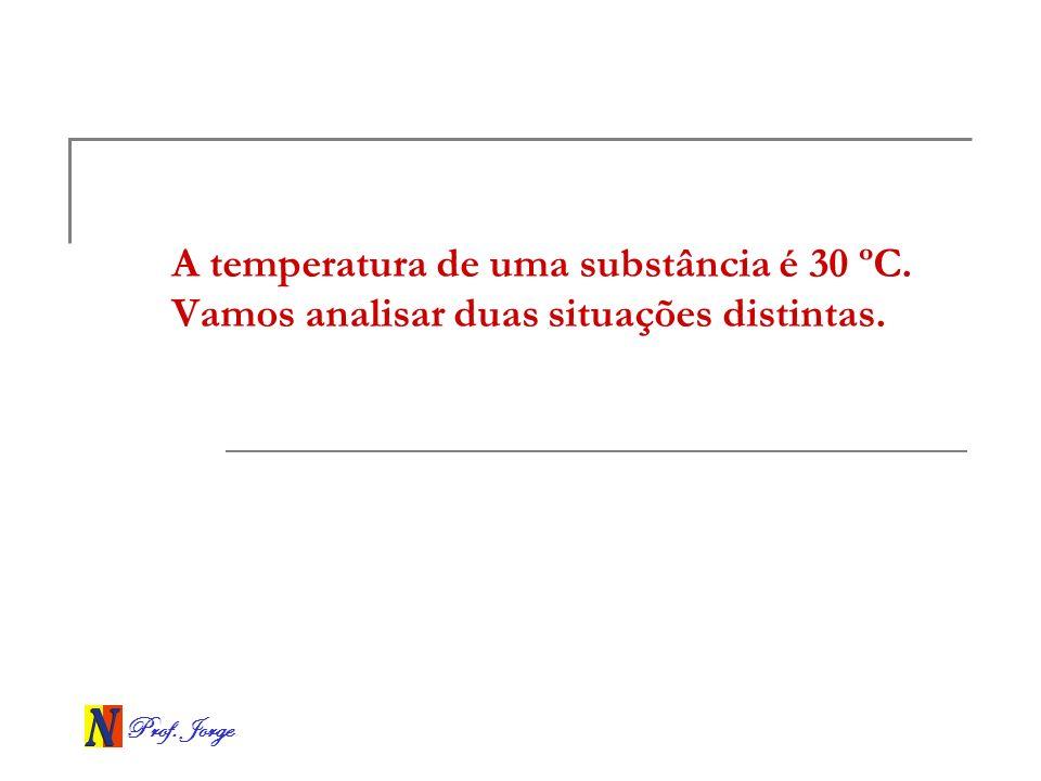 Prof. Jorge A temperatura de uma substância é 30 ºC. Vamos analisar duas situações distintas.