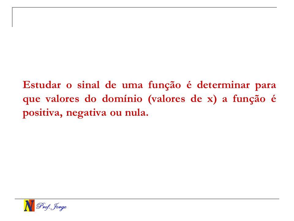 Prof. Jorge Estudar o sinal de uma função é determinar para que valores do domínio (valores de x) a função é positiva, negativa ou nula.