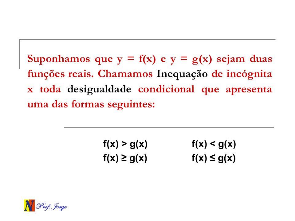 Prof. Jorge Suponhamos que y = f(x) e y = g(x) sejam duas funções reais. Chamamos Inequação de incógnita x toda desigualdade condicional que apresenta