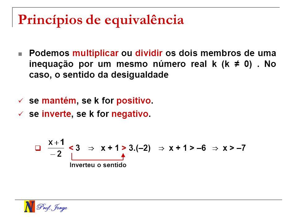 Prof. Jorge Princípios de equivalência < 3 x + 1 > 3.(–2) x + 1 > –6 Inverteu o sentido Podemos multiplicar ou dividir os dois membros de uma inequaçã