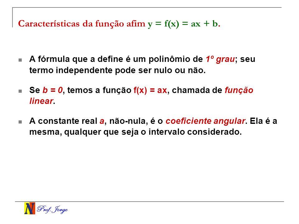 Prof. Jorge Características da função afim y = f(x) = ax + b. A fórmula que a define é um polinômio de 1º grau; seu termo independente pode ser nulo o