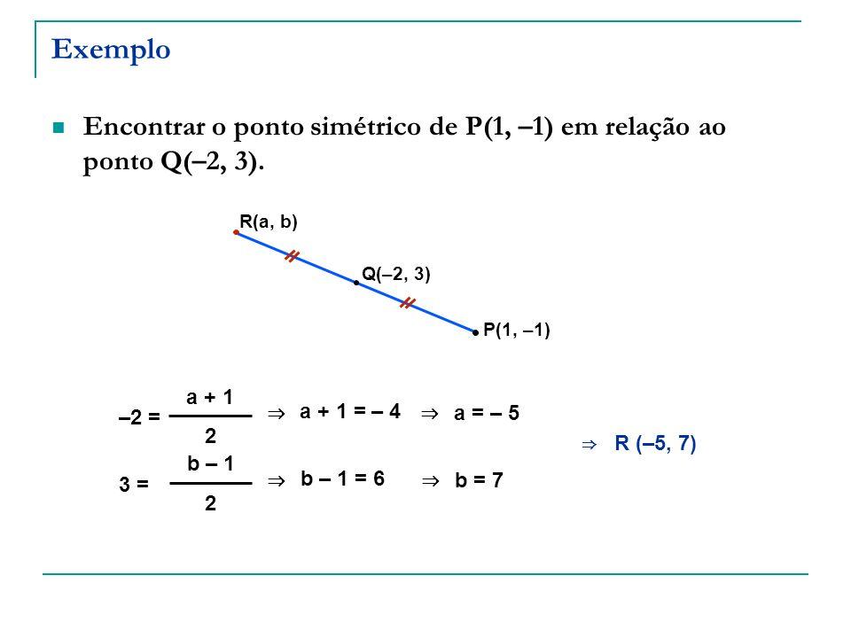 Exemplo Encontrar o ponto simétrico de P(1, –1) em relação ao ponto Q(–2, 3). P(1, –1) Q(–2, 3) R(a, b) –2 = a + 1 2 a + 1 = – 4 a = – 5 3 = b – 1 2 b