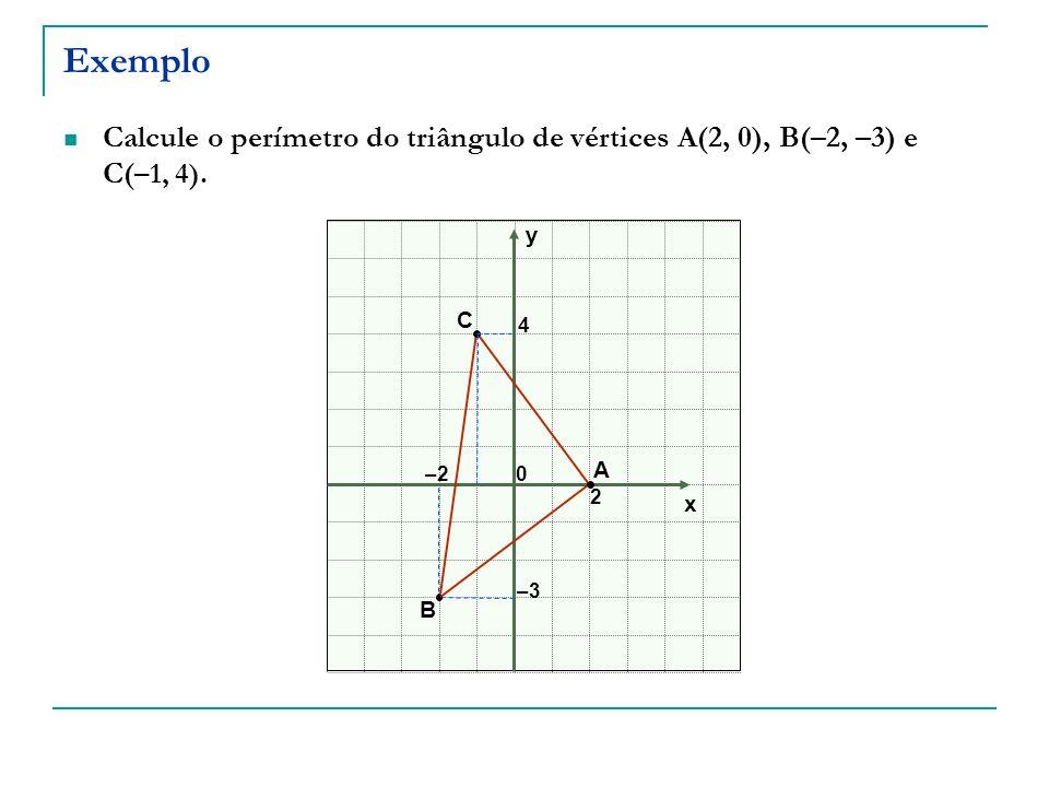 Exemplo Calcule o perímetro do triângulo de vértices A(2, 0), B(–2, –3) e C( –1, 4). x y 0–2 2 –3 4 A B C
