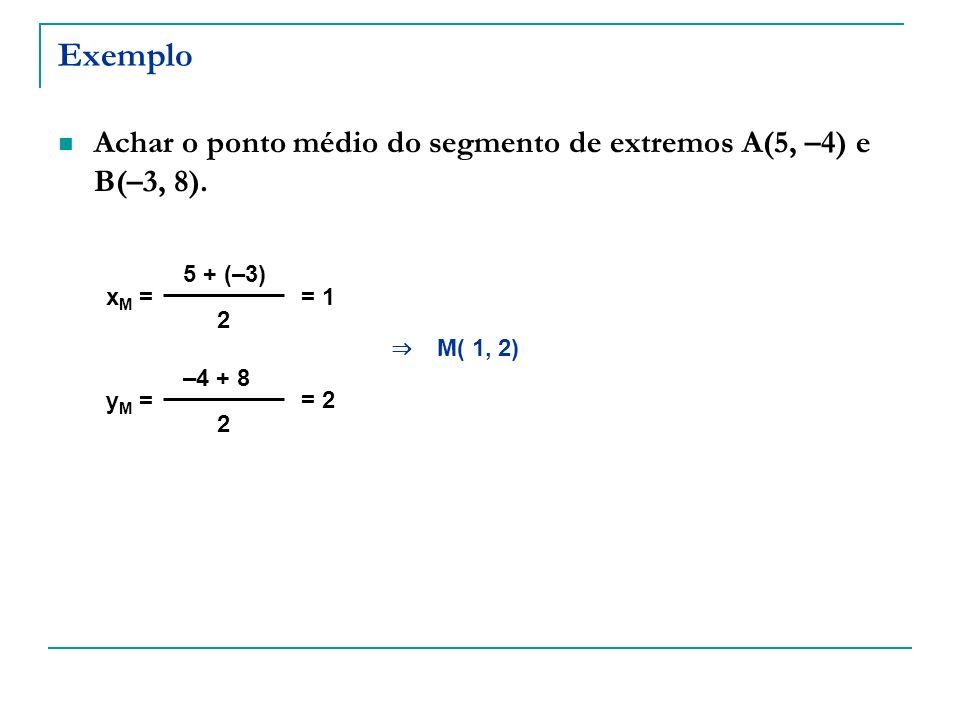 Exemplo Achar o ponto médio do segmento de extremos A(5, –4) e B(–3, 8). x M = 5 + (–3) 2 y M = –4 + 8 2 = 1 = 2 M( 1, 2)