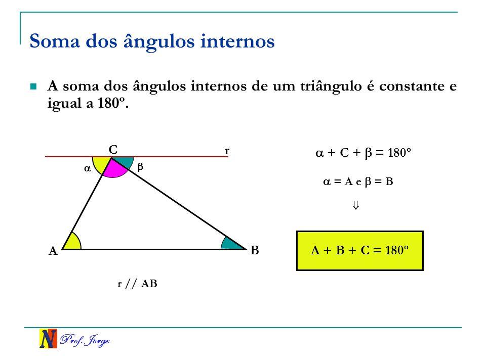 Prof. Jorge Soma dos ângulos internos A soma dos ângulos internos de um triângulo é constante e igual a 180º. A C B r A + B + C = 180º + C + = 180º =