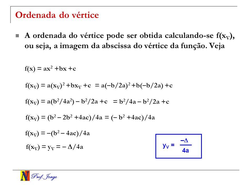 Prof. Jorge Ordenada do vértice A ordenada do vértice pode ser obtida calculando-se f(x V ), ou seja, a imagem da abscissa do vértice da função. Veja