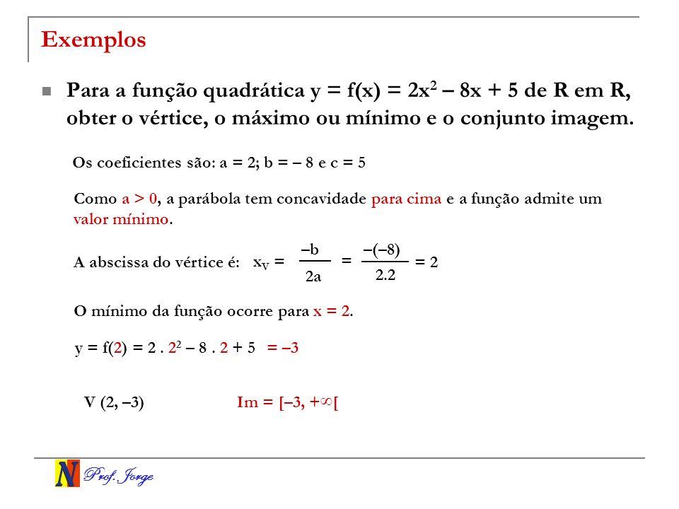 Prof. Jorge Exemplos Para a função quadrática y = f(x) = 2x 2 – 8x + 5 de R em R, obter o vértice, o máximo ou mínimo e o conjunto imagem. Os coeficie