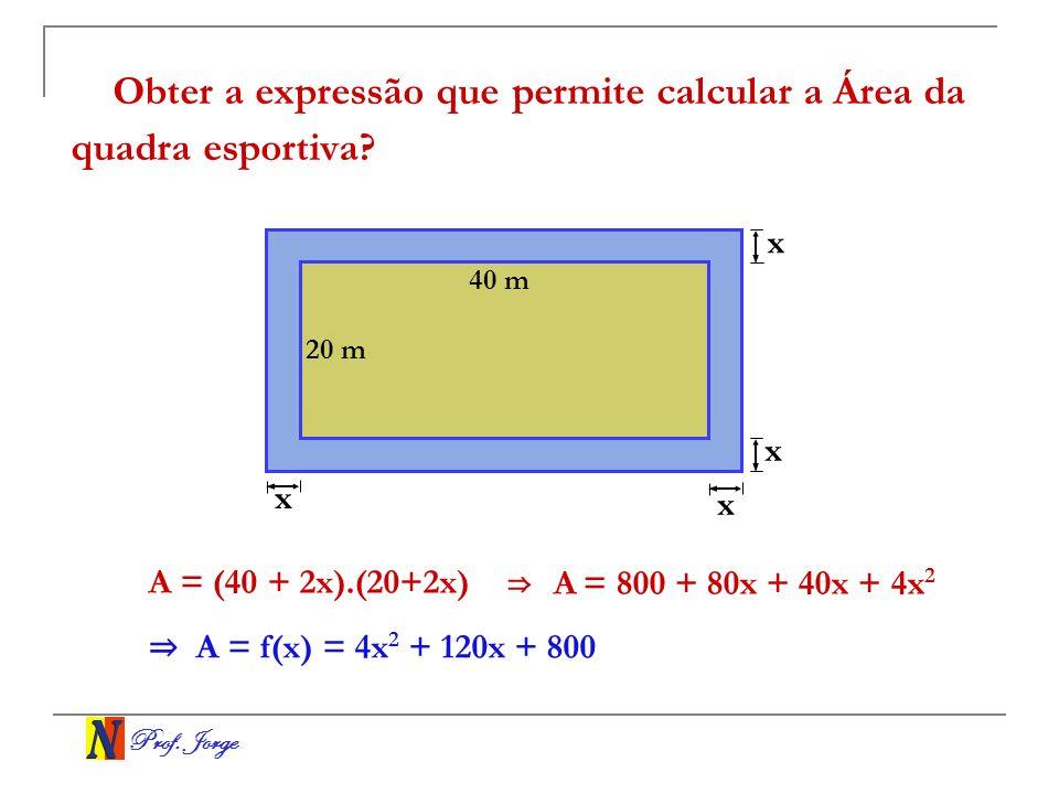 Prof. Jorge Obter a expressão que permite calcular a Área da quadra esportiva? A = (40 + 2x).(20+2x) 40 m 20 m x x x x A = 800 + 80x + 40x + 4x 2 A =