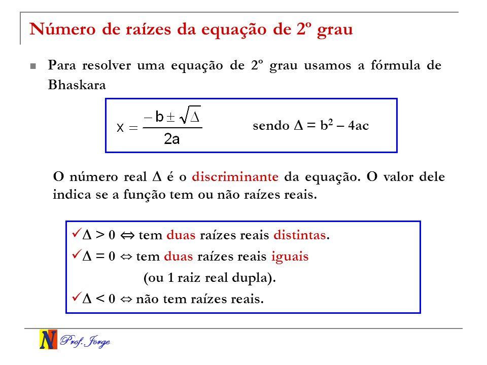 Prof. Jorge Número de raízes da equação de 2º grau Para resolver uma equação de 2º grau usamos a fórmula de Bhaskara O número real é o discriminante d