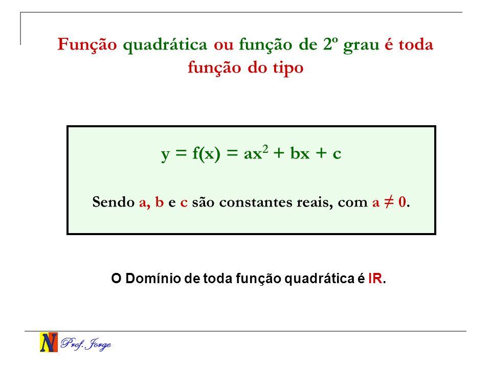 Prof. Jorge Função quadrática ou função de 2º grau é toda função do tipo y = f(x) = ax 2 + bx + c Sendo a, b e c são constantes reais, com a 0. O Domí